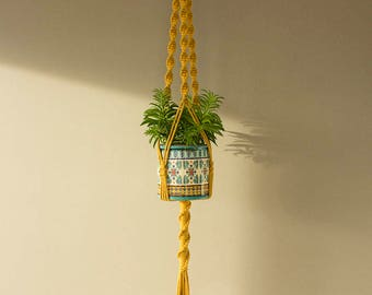 Mother day gift, Mustard color Macrame plant hanger for wide or high pot, Plant moms, gift for mom
