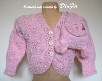 GIRL SWEATER and PURSE / Girl Hand Knitted Jacket Handmade Children Bolero Pullower / Crochet Cardigan Gift Ideas Fall Accessories Spring
