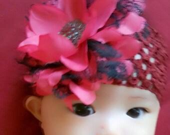 Baby headband with red/burgundy flower, newnorn headbands, infant headbands