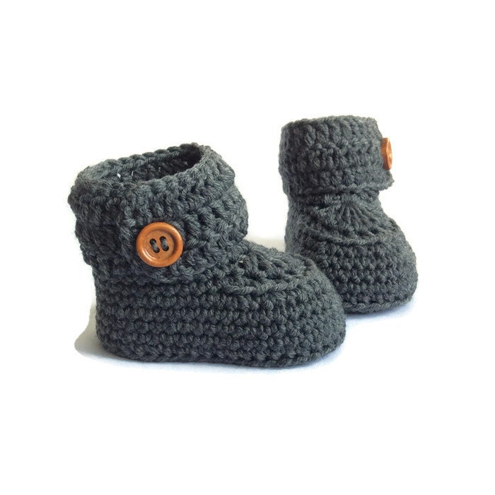 Crochet Baby Booties Grey Baby Booties Baby Boots Baby Shoes