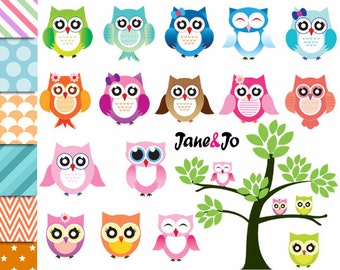 Owl clipart , Owls clipart , Owl cliparts, sweet, cute owls, pink, purple, blue, green,scrapbook supplies,owl ,owls ,owl bird leaves