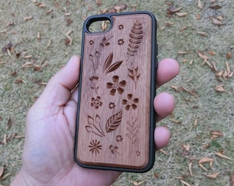Carved Natural Wood Mobile Phone Case - Flowers and Leaves