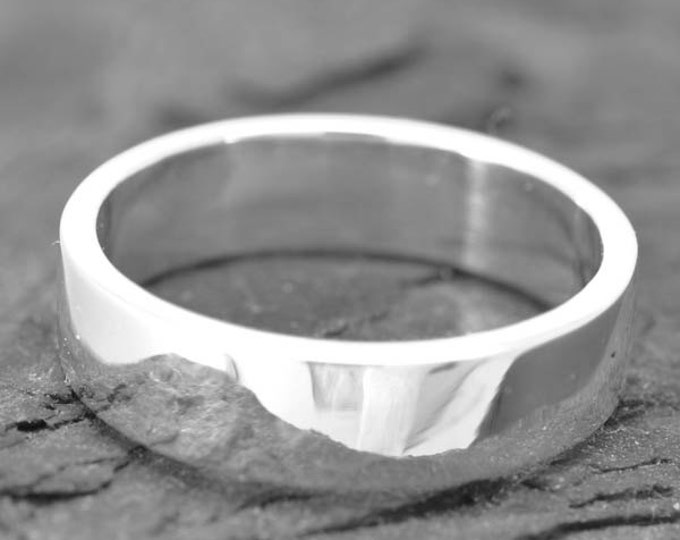 18K palladium white gold ring, 4mm x 1mm, flat, wedding band, wedding ring, square, mens wedding ring, mens wedding band, size up to 8