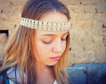 Boho headband wrap headband gold silver head band Boho gypsy headband