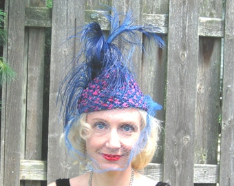 1920s flapper turban with cobalt blue ostridge feathers