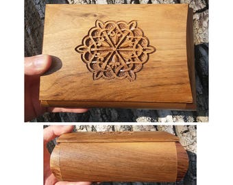Handcrafted Curve Armenian Wooden Box with Endless Knot