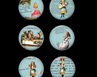 Alice in Wonderland Button Pins or Alice in Wonderland Magnets Wonderland Gift  Wonderland Refrigerator Magnets