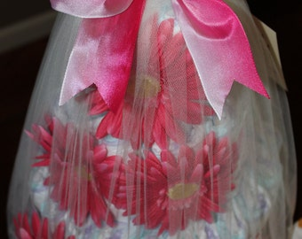 Pink ombre floral diaper cake