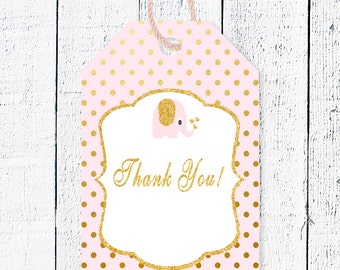 Pink & Gold Favor Tags, Baby Girl Thank you tags, Printable favor tag, Baby shower thanks, Baby shower party decor, Pink favor tag, EP-2