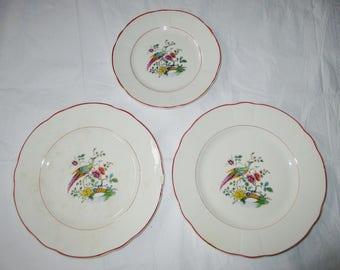 Knowles Taylor Knowles KT&K IVORY - 2 Dinner Plates, 1 Salad Plate - Exotic Bird in Garden (c. 1926)