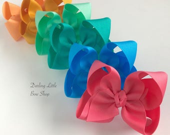 "Hairbow Set -- 6 Colors to Match Matilda Jane Camp MJC -- choose 3"", 4"", 5"", 6"" or 8"" bows -- m2m Matilda Jane"