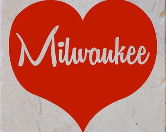Milwaukee Red Heart Coasters set of 4