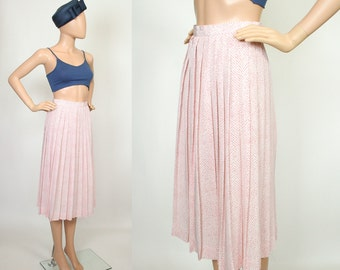 Pastel Pink High Waist Midi Skirt Pleated A-line Full Free Chevron Zig Zag Striped Spring Summer Day Skirt High Waisted Extra Small XS