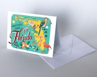 50 States cards, South region - choose from Florida, Tennessee, North Carolina, South Carolina, Louisiana, Texas greeting cards