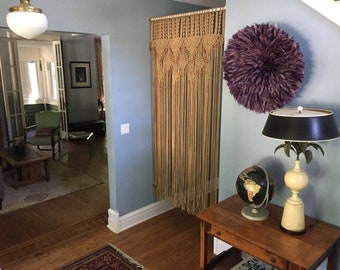 Bead Fringed Extended Macrame Curtain