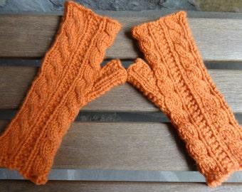 Hand Knit Pumpkin/Cable Fingerless Gloves