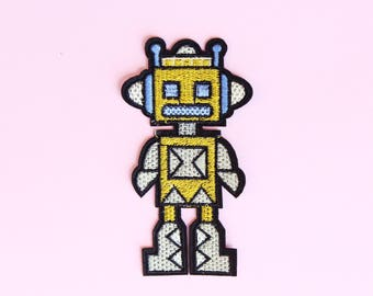 Robot embroidered patch, Iron on patch, clothing patches, patches for jackets, Sew on patches