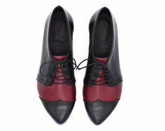 Black and bordeaux oxford shoes, Polly Jean by Tamar Shalem