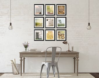 Country Home Decor Set of 9 Rustic Photo set, farmhouse decor, rustic wall art set, rustic farmhouse photos, cottage chic, fixer upper decor