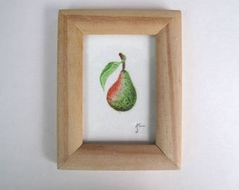 Original signed and framed Miniature watercolour painting of a pear. Blush Pear 1.
