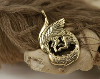 Winged Fennec Fox bronze pendant necklace