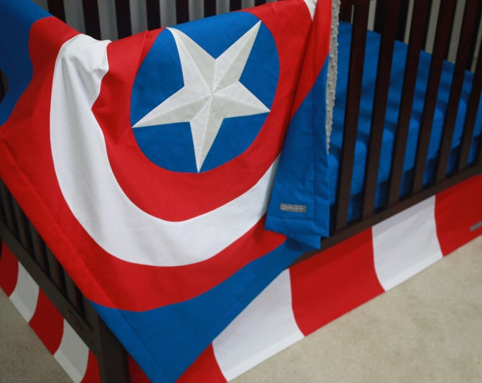Superhero Baby Bedding--Captain America--Custom Crib Bedding-MTO