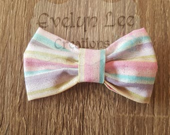Pink & Purple Striped Hair Bow