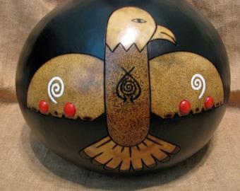 Gourd Art , Handpainted Gourd , Handmade Art , Pyrography , Eagle Art , Gourd Kachina , Gourd Doll , Four Directions , Home Decor , Original