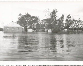 Flooded Farm House Yard and Sheds Flood Stage Real Photograph Vintage Photograph/Postcard Size Black and White