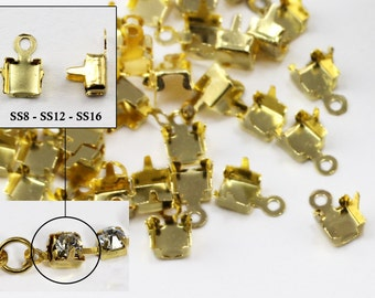 SS8 SS12 SS16 Gold Crystal Rhinestone Cup Chain Ends For Jewelry Making - 20 Pieces