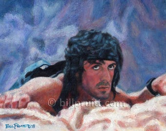 Sylvester Stallone Rambo 3 art print 12x16 signed and dated Bill Pruitt