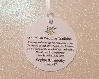 An Italian Wedding Tradition Favor Tags *FIVE WISHES Jordan Almond Favor Tag *Italian Limoncello Jordan Almond Favor Tag *PERSONALIZED