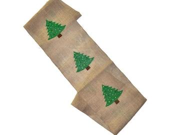Christmas Burlap Table Runner - Christmas Tree Burlap Table Runner - Christmas Runner - Christmas Table Runner - Holiday Table Decor