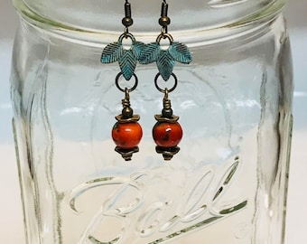 """Turquoise Patina Dangles, FREE SHIPPING, Ocean Jasper Earrings, Rust Earrings, Turquoise Dangles, 2"""" Long"""