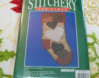 Christmas Crafts, Christmas Craft Kit, Patchwork Christmas Stocking, BERNAT Craft Kit, make a christmas stocking