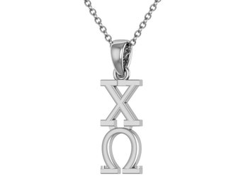 Chi Omega Necklace - Sterling Silver / Chi O Necklace / Owl Lavalier / Big Little Gift / Sorority Jewelry