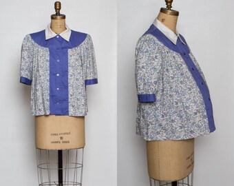 vintage 1960s maternity blouse   60s floral print women's top