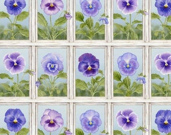 Henry Glass. Pretty As A Pansy. Window Box Pansy White/Lt. Blue - 2/3 Yard Panel - Quilting Panel