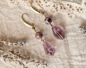 Bronze gemstones earrings with natural Ametyst and Charoite.