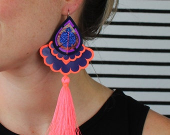 COLOURFUL STATEMENT EARRINGS with neon coral  tassels. Festival Jewellery Collection. Tasselled earrings. U.V. Reactive jewellery