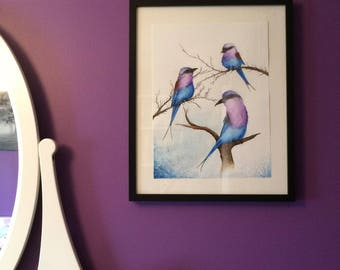 Lilac Breasted Roller Birds Original Watercolor Painting