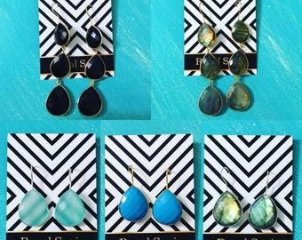 Gemstone Earrings // Sterling Silver or 14k  // Faceted Gemstone Drops