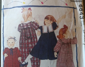 McCalls easy sewing Pattern, McCalls Pattern 6643, Children's sewing pattern