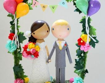custom wedding cake topper - balloons & bunting