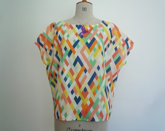 Womens summer cotton boxy top in colourful print, SPECIAL OFFER SAMPLE!, Special price due to slight mark on front, multi-coloured top