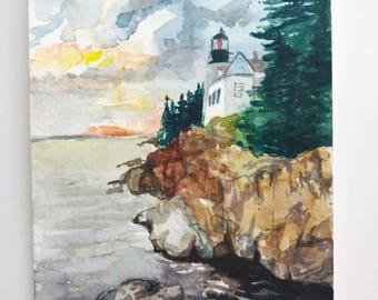 Cliffside Lighthouse, Original Watercolor Painting, 4x6, handmade painting, miniature painting, landscape, watercolor landscape