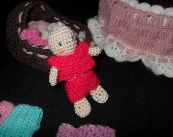 Crochet  CRADLE PURSE sac CROCHET berceau et bébé + vêtements fait-main bourse crochet rose Panier au crochet fait main