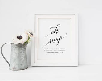 Elegant oh Snap Wedding Sign Template Oh Snap Wedding Sign Wedding Hashtag Sign Hashtag Sign Template Modern Calligraphy oh Snap #WP30
