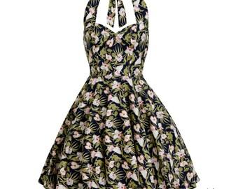 Summer Dress Tropical Dress Hawaiian Dress Swing Dress Bridesmaid Dress Vintage Inspired Dress Pin Up Dress Rockabilly Dress Plus Size Dress