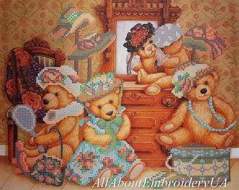Bead Embroidery DIY kit Teddy Bears and Toys Beaded cross stitch Needlepoint Handcraft Tapestry kit Nursery decor Children Embroidery